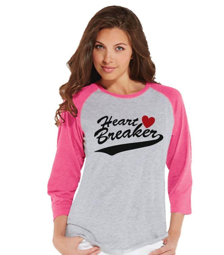 Ladies Valentine Shirt - Womens Heart Breaker Valentines Day Shirt - Valentines Gift for Her - Funny Happy Valentine's Day - Pink Raglan