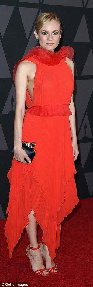 Diane Kruger sizzles in red frock at Governors Awards | Daily Mail Online
