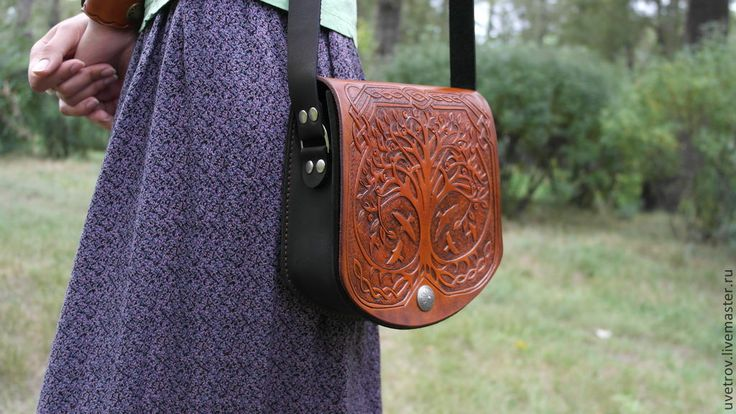 """Купить Сумка кожаная """"кельтское дерево"""" - коричневый, сумка женская, сумка ручной работы"""