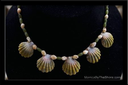 5 Rare Green Sunrise Shells, Jade Bead & Momi Shell Choker Necklace: Beautiful Sunri, Rare Green, Green Sunrises, Momi Shells, Sunri Shells, Choker Necklaces, Jade Beads, Shells Choker, Sunrises Shells