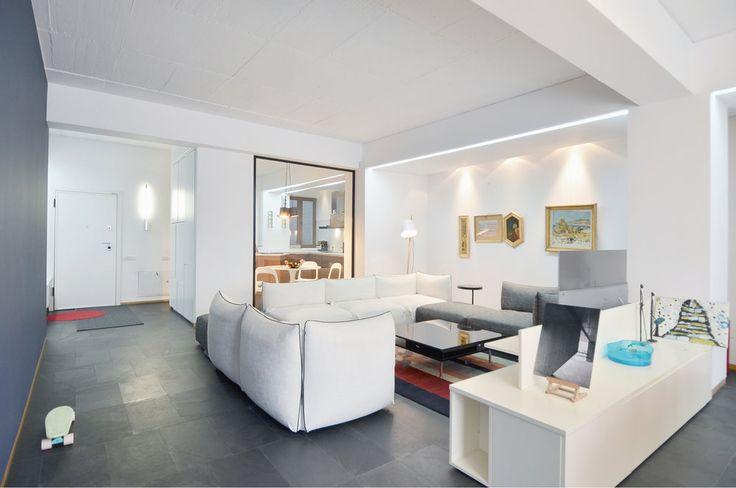 Apartment in Bucharest  - #interior #interiordesign #livingroom #living #lifestyle #housing #residential #white #travertine  #urban #architecture #apartment