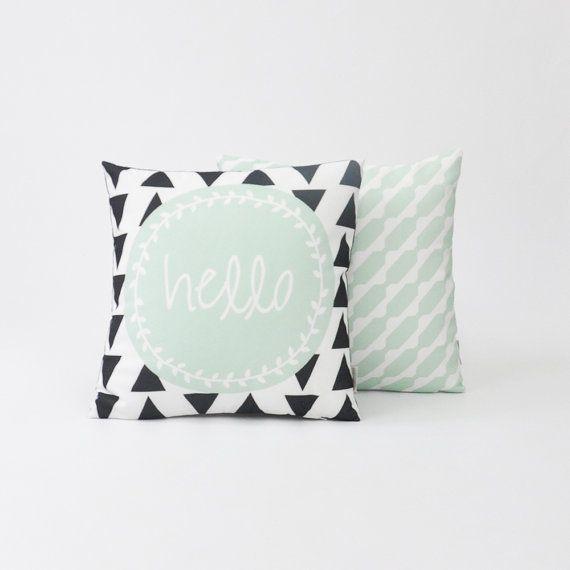 """Modern Decorative Pillow Set, Geometric Nursery Pillow, Kids Pillow, Throw Cushion, Mint Set 16"""" x 16"""""""