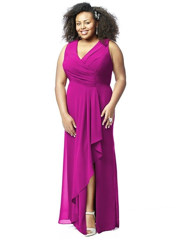 Dessy Lovelie 9010 Bridesmaid Dress. This sleeveless full-length plus size gown gives sensuous appeal to the fuller figure. Fashioned in Nu-Georgette the dress has a draped bodice with a V-neckline and high back. The long skirt has a side cascade wrap that reveals a hint of leg.