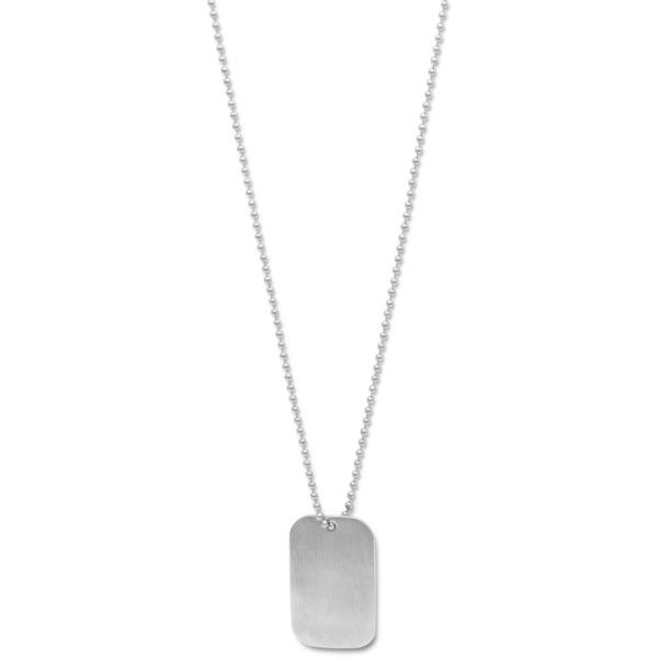 25 Stainless Steel Bead Chain and Dog Tag Necklace (22 AUD) ❤ liked on Polyvore featuring jewelry, necklaces, engraved dog tag necklace, beaded chain necklace, stainless steel necklace, engraving necklaces and engraved jewelry