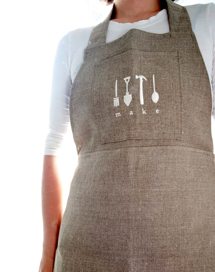 full linen apron with embroidery. $60.00, via Etsy.