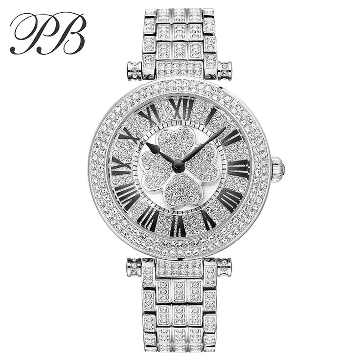 Find More Women's Watches Information about PB Brand Luxury Austrian Crystal Lucky Clover Ladies Dress Watch Top Women Full Stainless Steel Quartz Watches relogio feminino,High Quality watch cover,China watch style Suppliers, Cheap dress up school uniforms from YIKOO Watches Store on Aliexpress.com