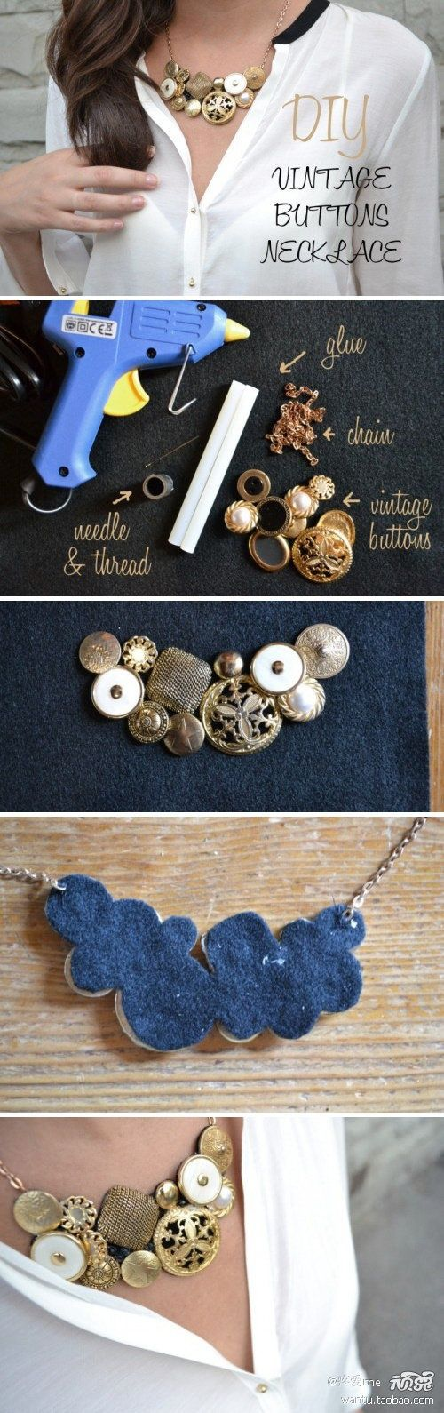 How to create a stunning vintage button necklace.
