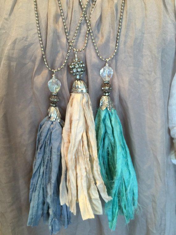 BoHo glam shabby chic sari silk tassel necklace by MarleeLovesRoxy