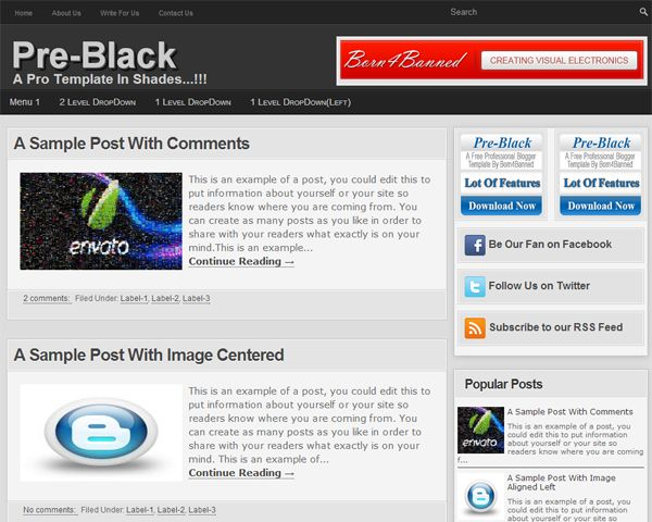 "Pre-Black-A Free Pro-Blogger Template: A 100% Free Premium Blogger Template Named As ""Pre-Black-A Free Pro-Blogger Template"" With Full Of SEO And SMO And Also With A Better User Interference On Basis Of Responsive Template With A Lot Of Plugin And Important Codes Added.  Features: www.exeideas.com/2013/05/pre-black-free-pro-blogger-template.html Designer: Born4Banned (www.born4banned.com) Download Link On Features List..."