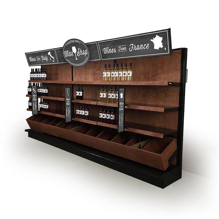 Liquor Store Shelving Wood - Custom Stained Wood & Black Gondola