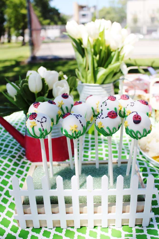 Pretty cake pops at a ladybug garden birthday party! See more party planning ideas at CatchMyParty.com!