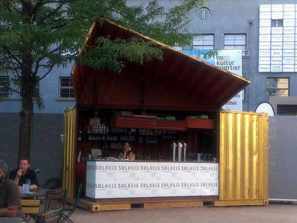 SOLARIS SHIPPING CONTAINER BAR - cutting the container on an angle like that is genius
