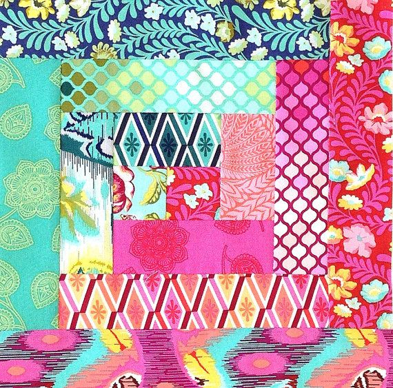 Log Cabin Quilt Kit  This kit includes pre-cut pieces for 12 Log Cabin blocks. ready to sew - TULA PINK fabric
