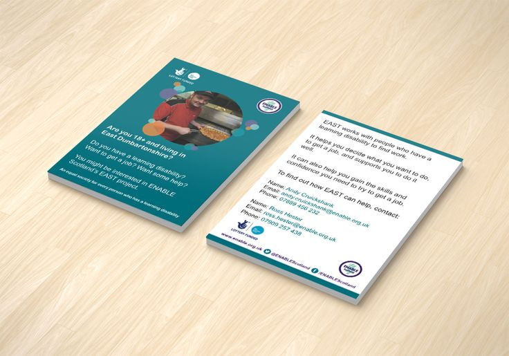 EAST POSTCARDS (BLUE VERSION) – Double sided postcard design to market ENABLE Scotland's EAST Project for East Renfrewshire in Blue Version. #graphicdesign #postcards #stationery #employment #printouts #marketing #flyer
