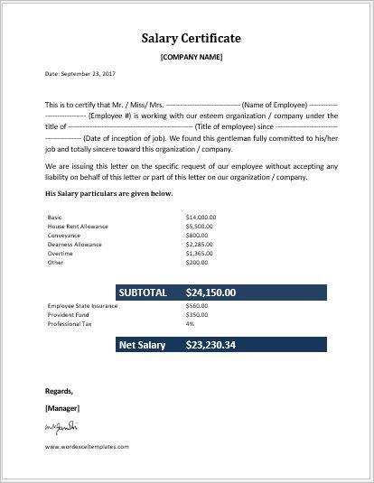 19  salary certificate formats