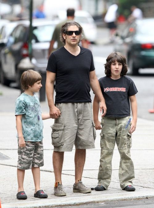 Michael Imperioli with his children, sons David (l - now 13) and Vadim