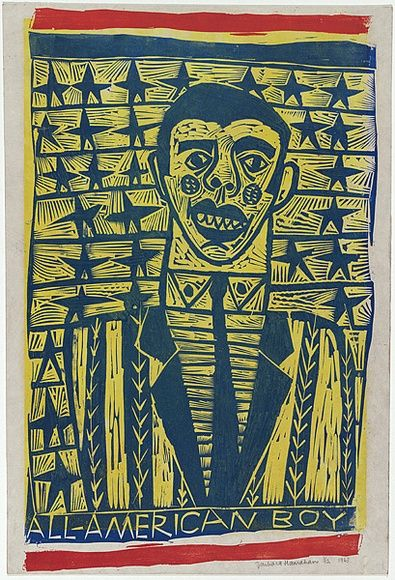 Artist: HANRAHAN, Barbara | Title: All-American boy | Date: 1963 | Technique: linocut, printed in colour, from three blocks