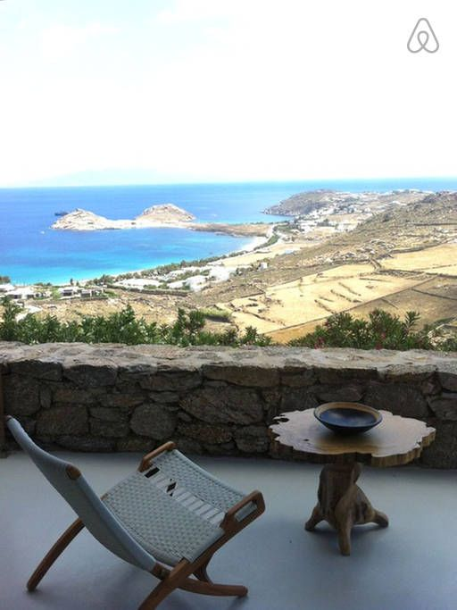Mykonos villa for rent: Cyclamen villa near Lia beach. Amazing views of Kalafatis Bay and the island of Naxos