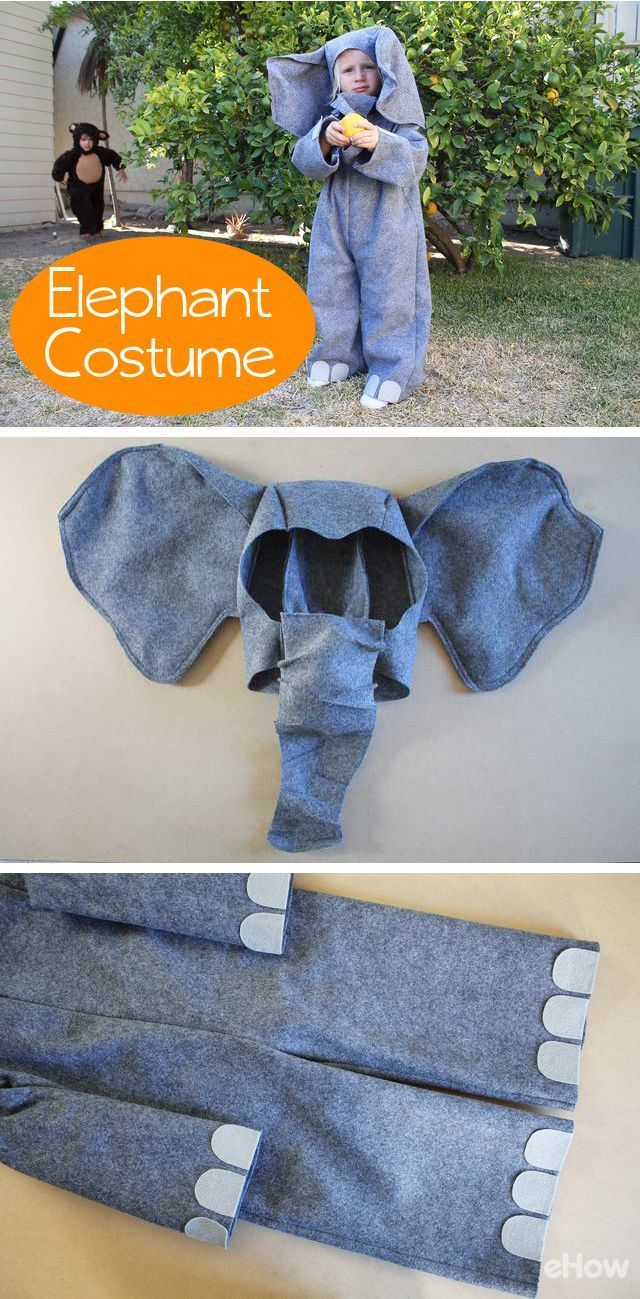 Get the free printable pattern to make this easy elephant costume for kids! All you need is some felt, wire and basic sewing skills. Such an adorable kids costume for Halloween! http://www.ehow.com/how_12341034_make-elephant-costume.html?utm_source=pinterest.com&utm_medium=referral&utm_content=freestyle&utm_campaign=fanpage