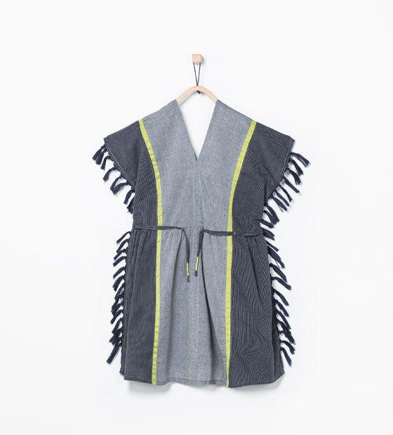ZARA - KINDEREN - Wijde blouse met franjes opzij