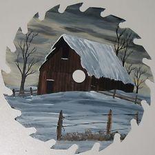 "Hand Painted Circular Saw Blade Winter Barn Scene 6"""