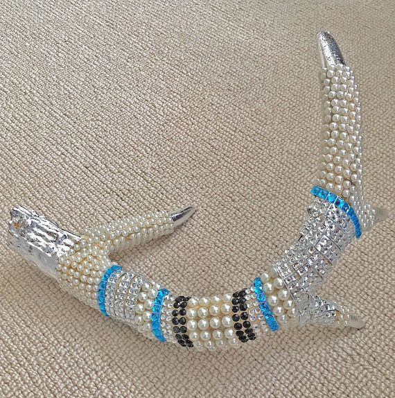 Real deer antler with blue and black and silver leaf