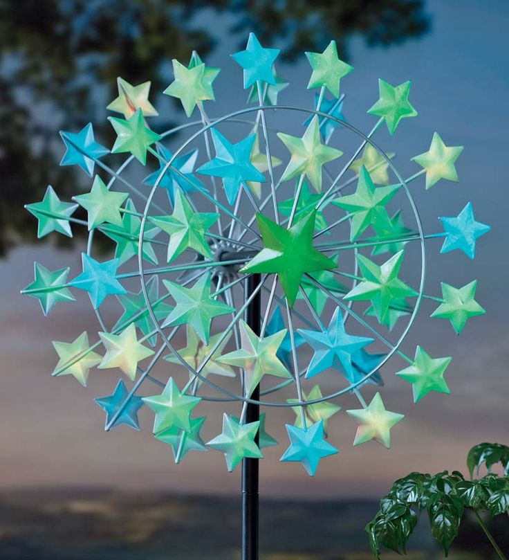 Glowing Stars Metal Wind Spinner  Buy One And Watch It Go. Makes The Garden