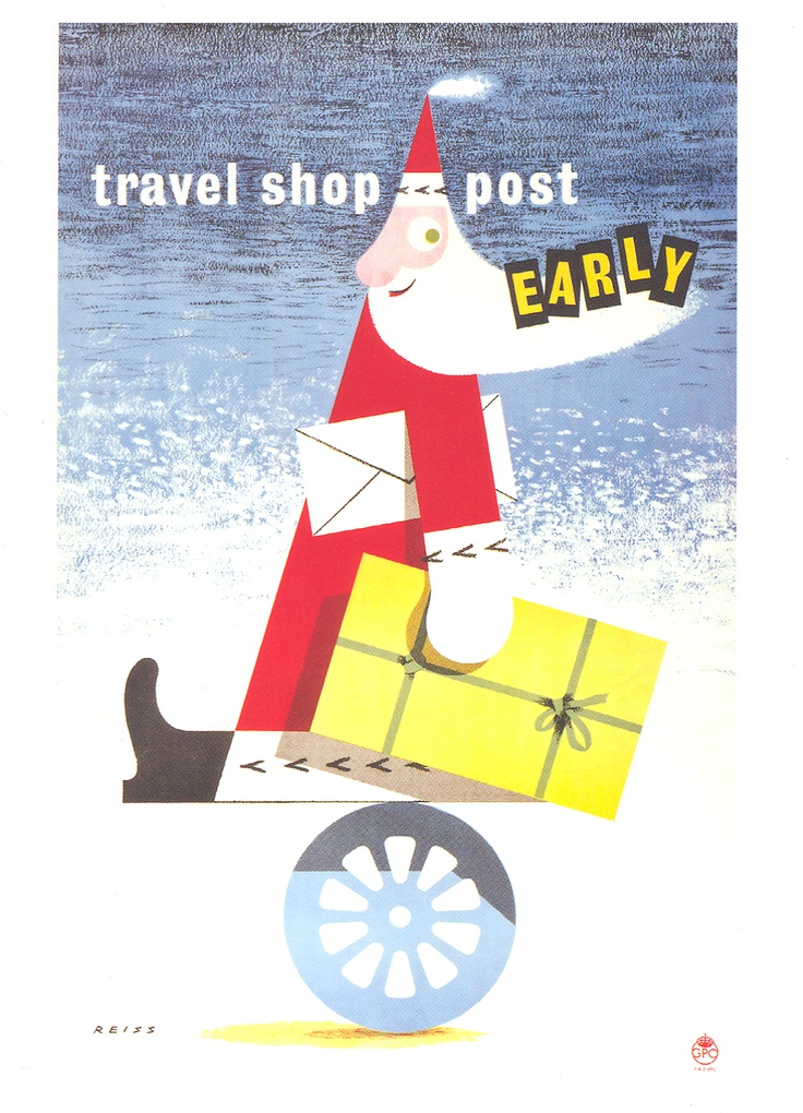 £2.50 Greetings card - The Travel Shop Post Early (Santa) poster from 1952 by Manfred Reiss - available from http://www.postalheritage.org.uk/page/greetings-earlysanta