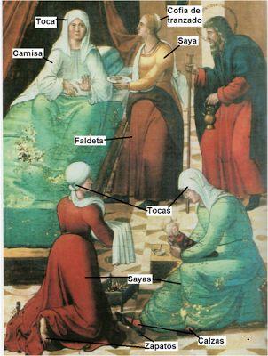H. 1515-1520. Nacimiento de la Virgen, parroquía de Santa María de Ejea de los Caballeros, Zaragoza (imagen obtenida de La moda en la sociedad aragonesa del siglo XVI de M.C. Soláns Soteras)