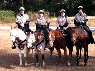 Mobile County Sheriffs Office Mounted Unit, Mobile, Alabama -  Western saddles, uniforms are tan shirts and black pants with helmets - Police Horse Tack