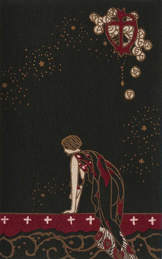 """3/4 - By Kobayashi Kaichi, Taisho-early Showa era, """"Woman looking out"""", from the series Flowers of Darkness"""", color woodblock."""