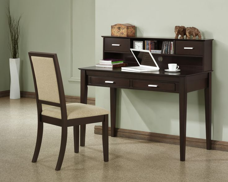 Desk : The Phenomenal Espresso Modern Secretary Desk And Chair Sets Along With Office Chair With Cream Seat Cover In Conjunction With Wood Elephant Statue Above Desk Secretary Desk Design Makeover. Bedroom. Brown.