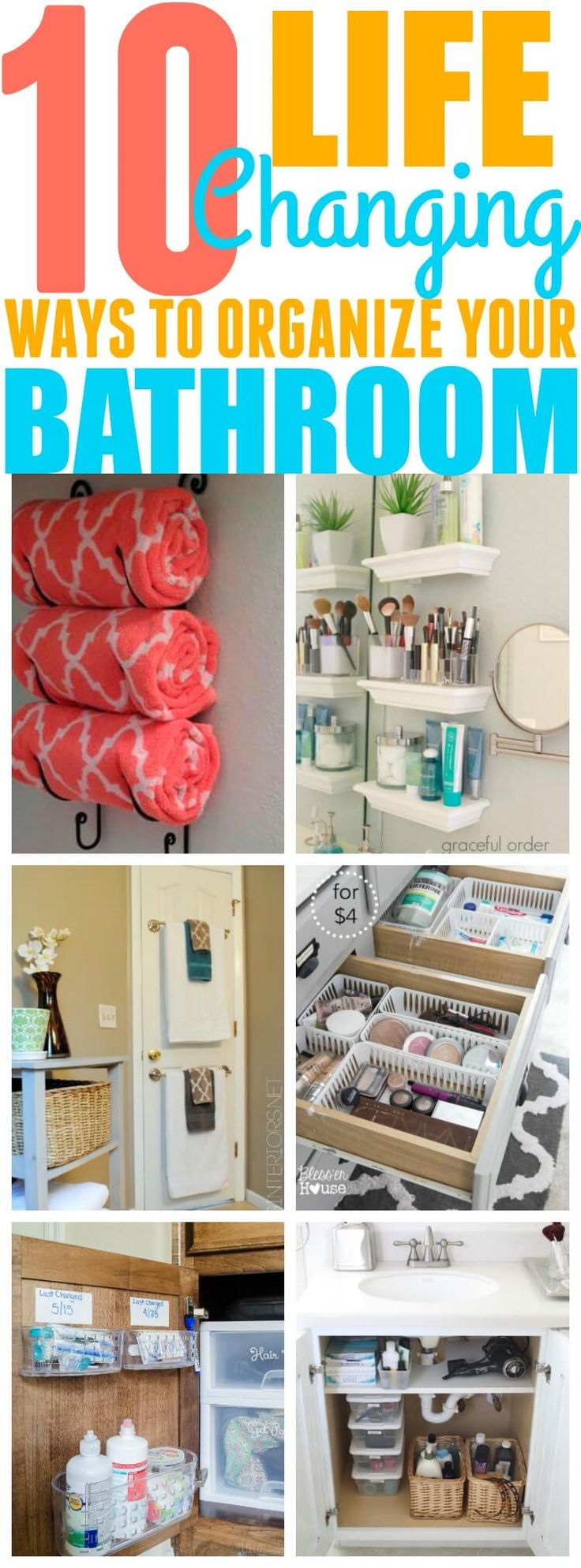 These 10 bathroom organization hacks have helped me organize my bathroom! I never would've been able to organize my bathroom without these hacks! You have to try them!