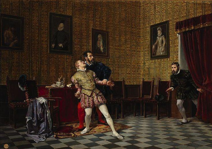 El príncipe don Carlos y el duque de Alba (Museo del Prado).José Uría y Uría  (1861-1937)1881.La obra muestra al príncipe Carlos de Austria (1545-1568),que fue el hijo primogénito del rey Felipe II de España y de la reina María Manuela de Portugal,junto al III duque de Alba,Fernando Álvarez de Toledo y Pimentel.96х123 cm. Prado Museum.
