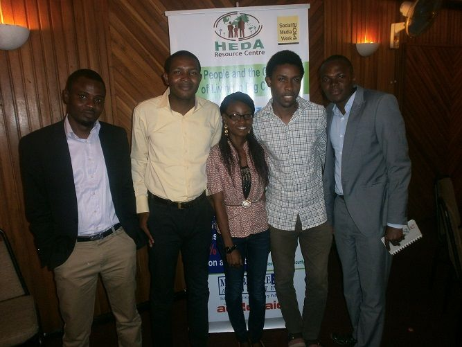 YPARD Nigeria members at the HEDA organized Social Media Week Event tagged #hungerpalava, by Zaid.