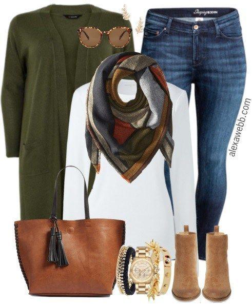 Plus Size Olive Cardigan Outfit - Plus Size Fashion for Women - alexawebb.com #alexawebb