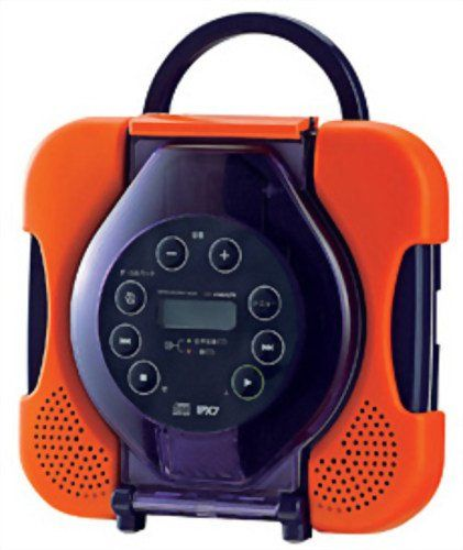 Waterproof CD Player CD Zabady Orange AV-J165OR with Vocal Remover Function for Karaoke by Twinbird
