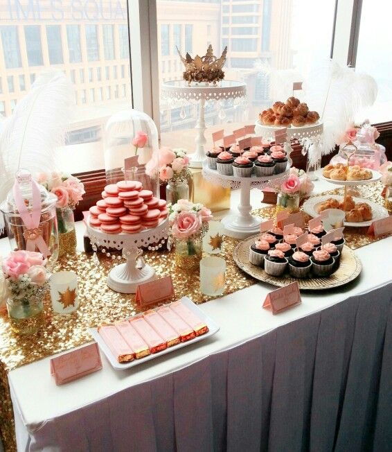 Pink and gold dreamy disney inspired dessert table