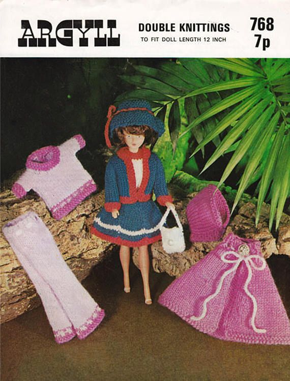 PDF Vintage Sindy Barbie Doll Clothes Knitting Pattern Argyll