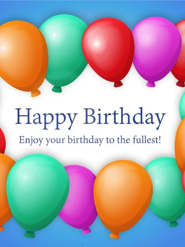 Four Colors Birthday Balloon eCard  Birthdays  Pinterest  Birthdays and Ha...