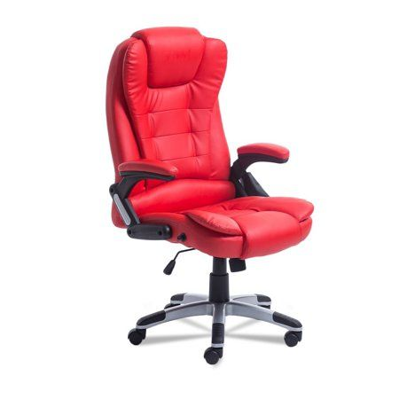 Heated Office Massage Chair-High-Back PU Leather Computer Chair w/360 Degree Adjustable Height & Armrest (Red)