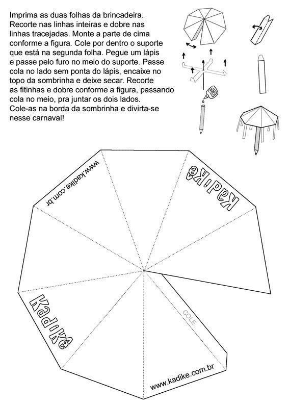 Educação Infantil, Criatividade e Amor: CARNAVAL - montando uma sombrinha de frevo - www.kadike.com.br