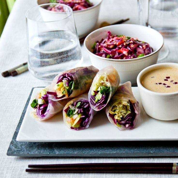Muista syödä välillä: Purplet kevätkääryleet & maapähkinäkastike
