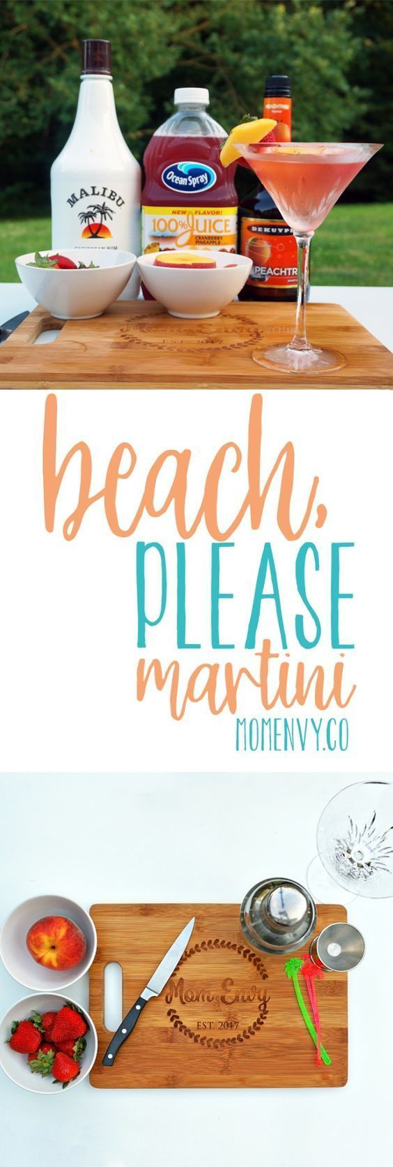 Beach, Please Martini from Mom Envy. Try this super easy cocktail recipe perfect for summer. Summer cocktail. Easy cocktail. Simple cocktail. Fruity cocktail. Fruity Martini. Summer martini. Easy Martini. Summer drink. Easy drink. Malibu Rum. Peach Schnapps. #summercocktails