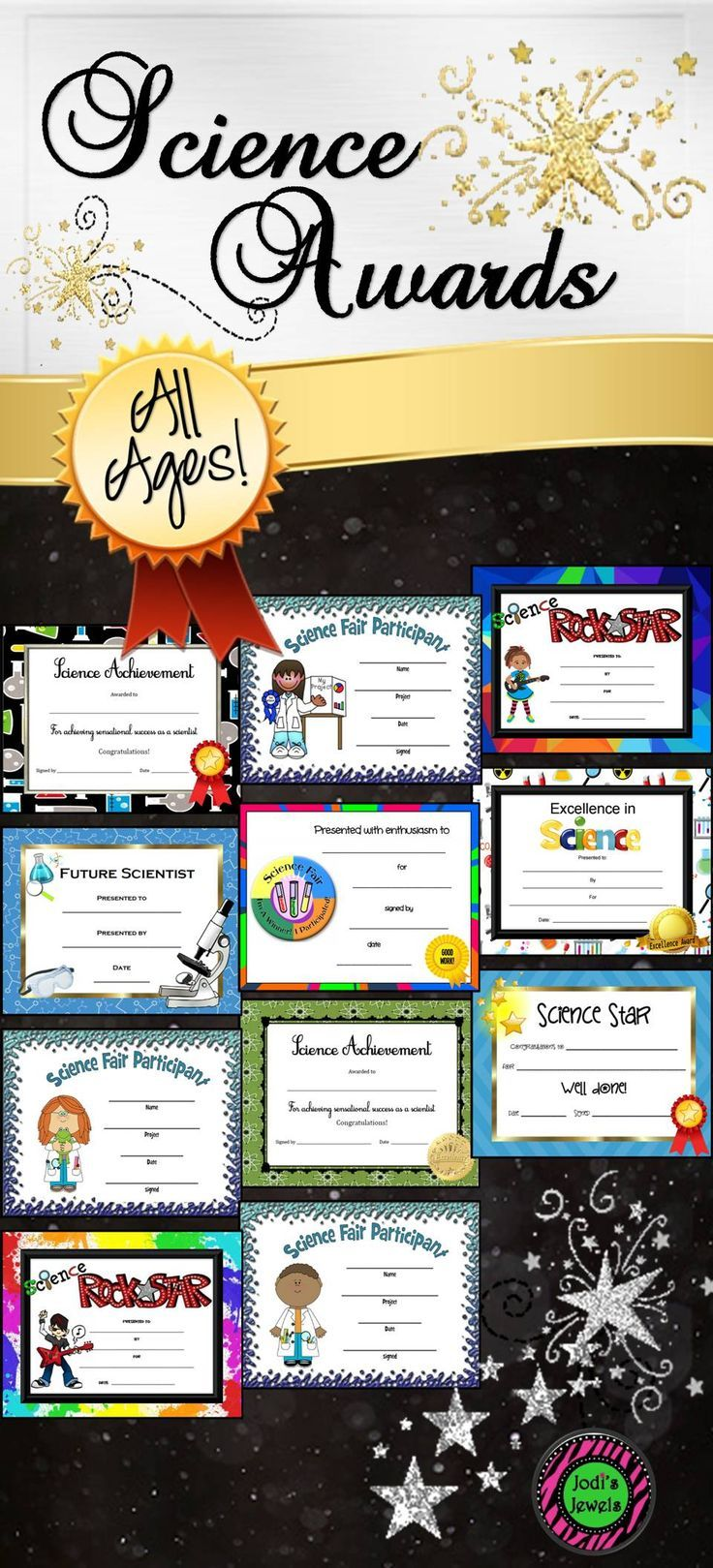 Acknowledge your science students' achievements with bright, beautiful award and participation certificates! Visit Jodi's Jewels today!
