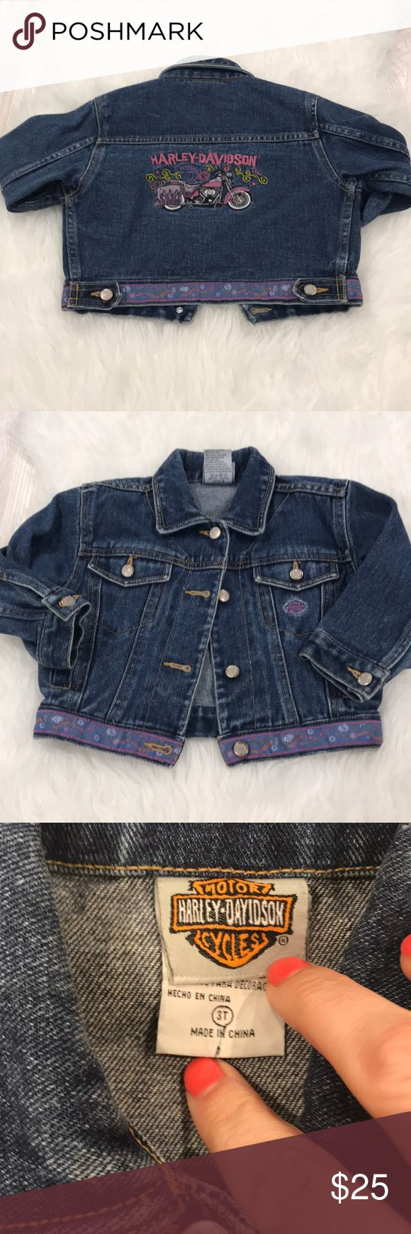 Harley Davidson Jean Jacket - 3T Harley Davidson Jean Jacket in size 3T. Super cute floral pattern and pink accents. Great pre-owned condition. Previous owners name written on back of tag. Harley-Davidson Jackets & Coats Jean Jackets