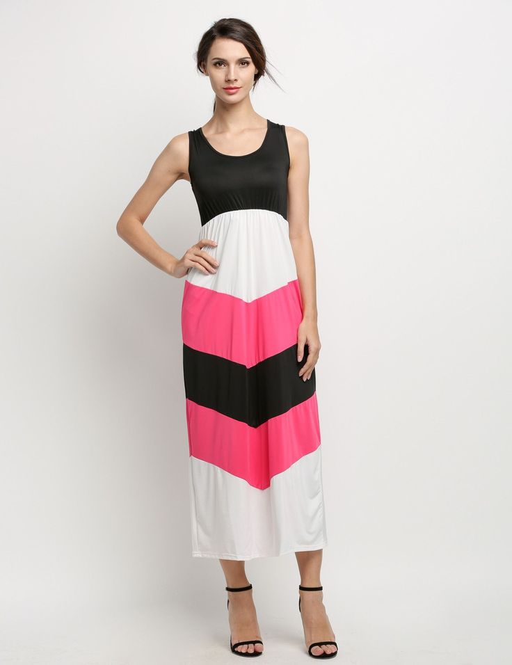 New Stylish Lady Women's Sleeveless O-neck Patchwork Beach Party Maxi Long Casual Dresses