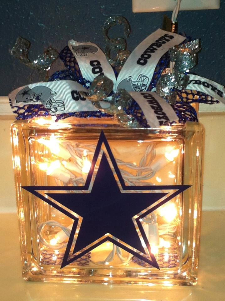 Dallas Cowboys Lit Glass Block with Bow. $21.00, via Etsy.