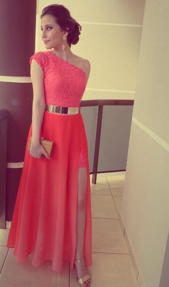New Arrival Coral Color Vestidos Formales Best Seller Lace One Shoulder Side Slit Gold Belt Prom Formal Evening Dresses 2014 $135.00