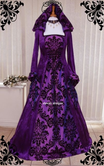 Purple Gothic Whitby Medieval wedding dress hooded renaissance Pagan Wiccan   eBay